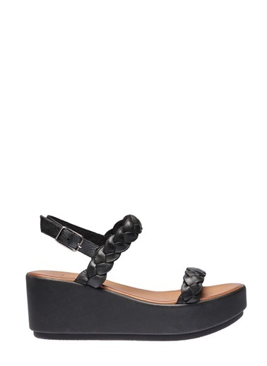 İnci İnci Dolgu  Sandalet Siyah